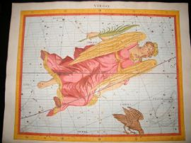 Flamsteed Atlas Coelestis 1781 LG Folio H/Col Celestial Map. Virgo 6 Astrology